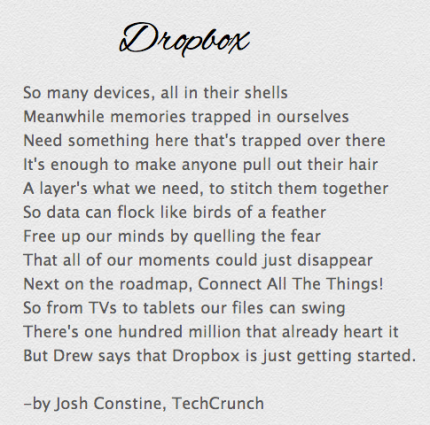 A Poem For Dropbox And Its 100 Million Users Techcrunch
