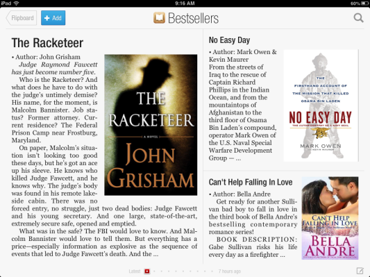 Flipboard Now Offers Books Categories, Promotes Apple's iBookstore