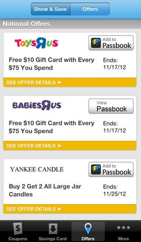 18c68ed134b Now With 50 Major Retailers On Board, Coupons.com's New iOS App Adds  Passbook-Enabled Coupons