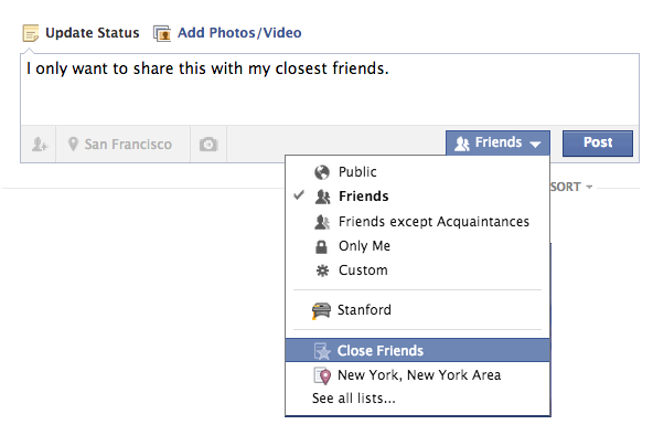 Custom Audience Selector Facebook Privacy