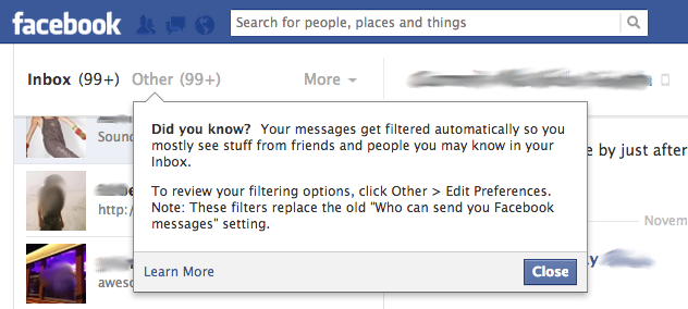 Facebook privacy notice Blurred