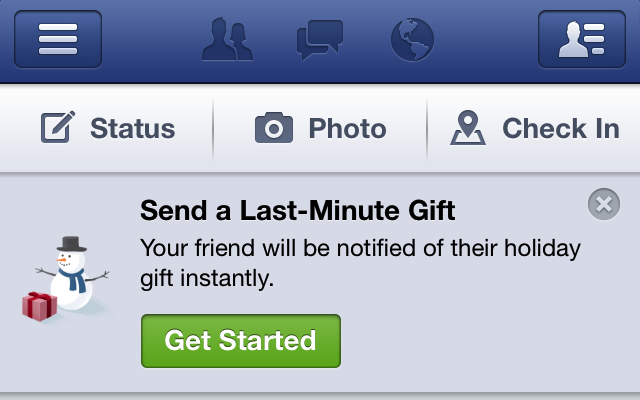 Facebook Makes Big Last Minute Holiday Drive To Sell Gifts With Banners Atop The Web And Mobile Feeds
