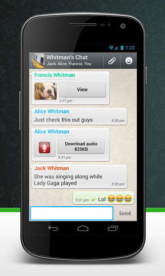 whatsapp screen shot android