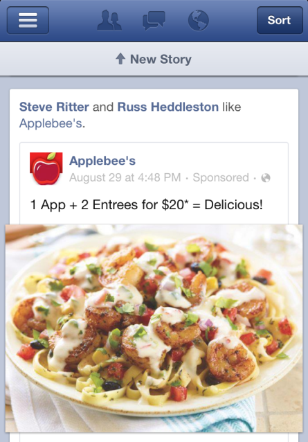 Facebook Mobile Page Ad Food Applebees