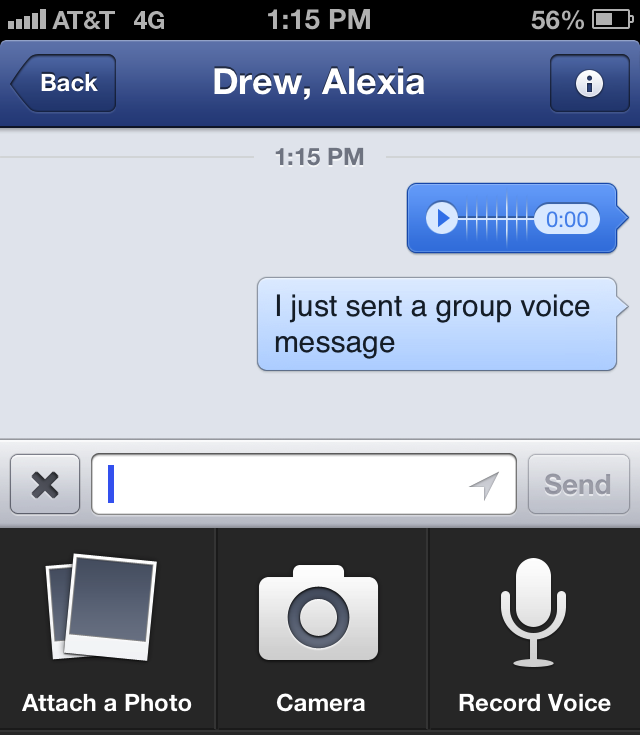 Facebook Mobile Voice Messaging
