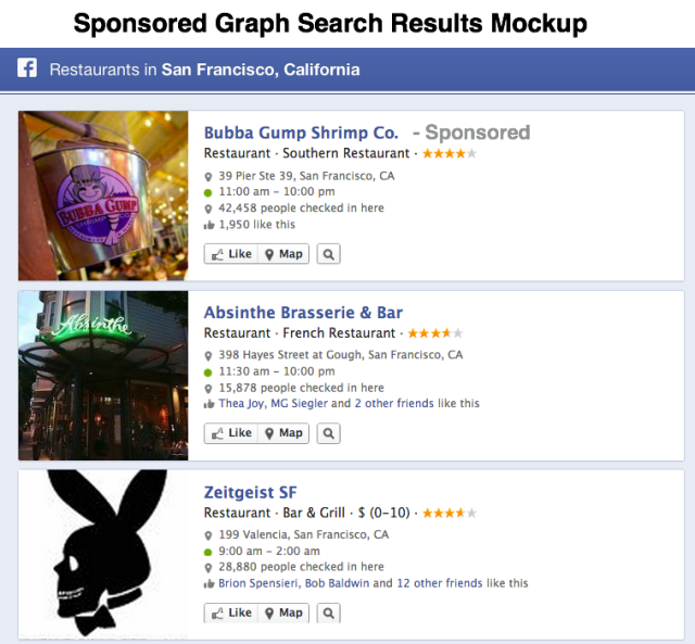 Facebook Sponsored Graph Search Mockup Done