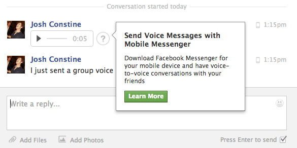 Facebook Voice Messaging