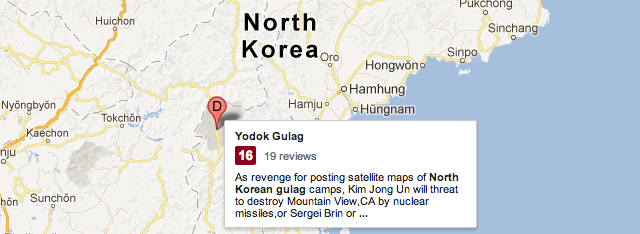 Rave 'Reviews' For North Korean Gulags On Google Maps ... on lesotho google maps, north korean phisycal maps, rainbow plane google maps, weird on google maps, netherlands google maps, nauru google maps, niger google maps, united kingdom google maps, micronesia google maps, libya google maps, tuvalu google maps, asia google maps, grenada google maps, philippines google maps, planet x nibiru google maps, panama google maps, poland google maps, united arab emirates google maps, morocco google maps,