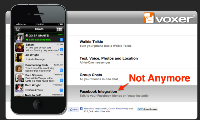 Voxer FB Integration