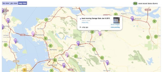 Craigslist Slowly Expands Its Maps To Items For Sale