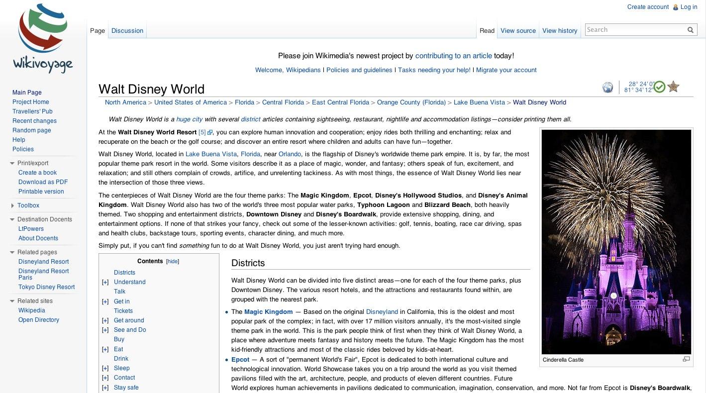 Walt Disney World – Travel guides at Wikivoyage