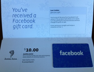 Facebook Gift Card Envelope