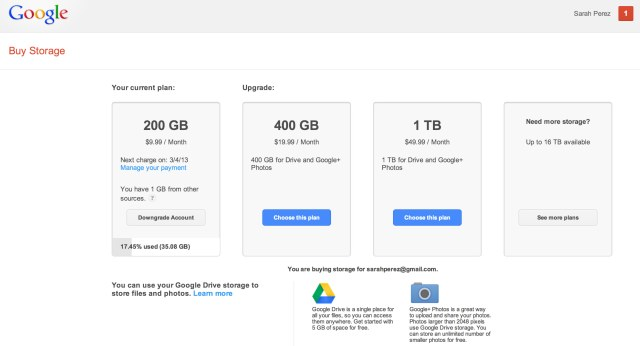 Google - Buy Storage