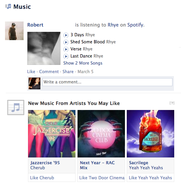 Facebook Music Feed