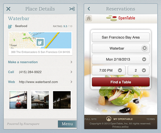 Evernote Food Update Brings OpenTable And Foursquare Integration - Open table menu