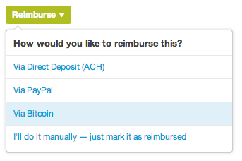 Reimburse Via Bitcoin