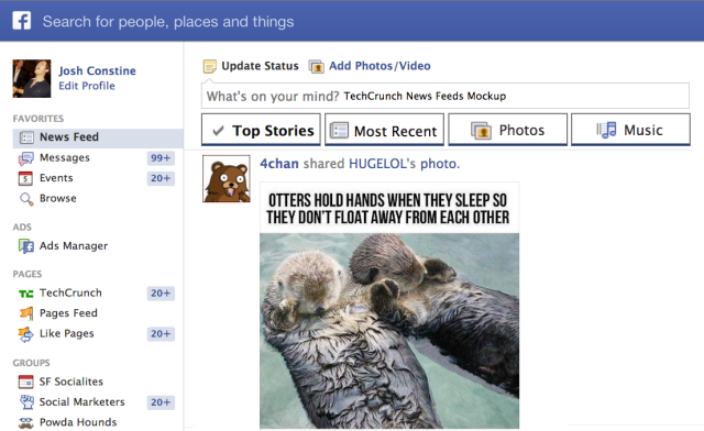 TechCrunch Facebook News Feeds Mockup