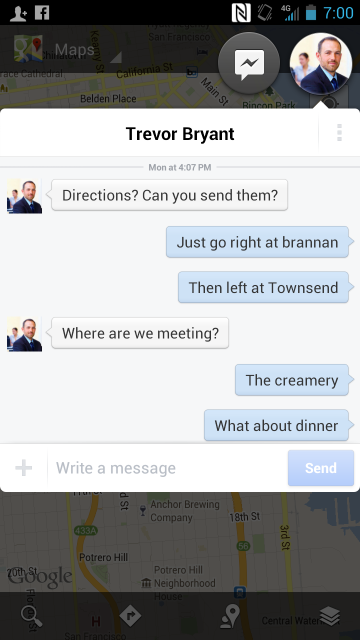 Facebook Chat Heads Map Multi-Tasking