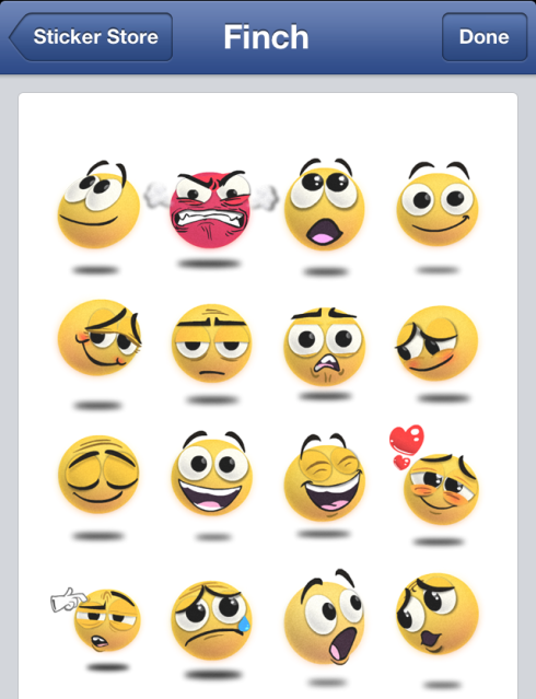 Facebook Finch Stickers