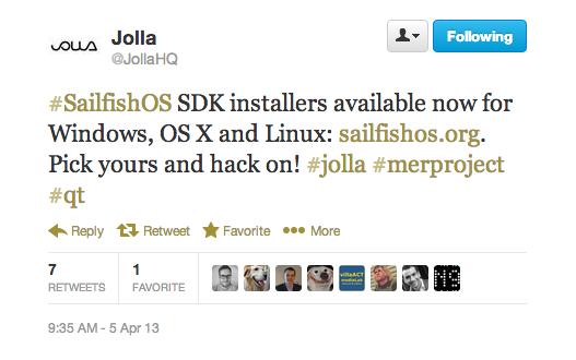 Jolla SDK installer tweet