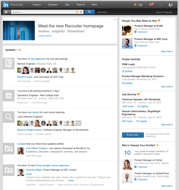 LinkedIn Recruiter new homepage