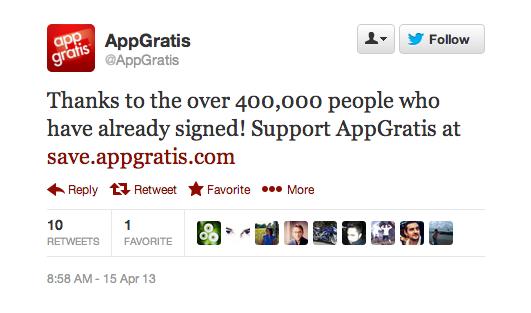 AppGratis tweet