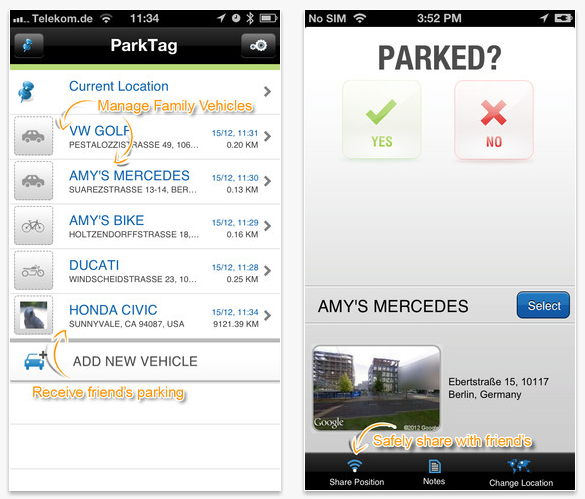 Park Tag app screenshots