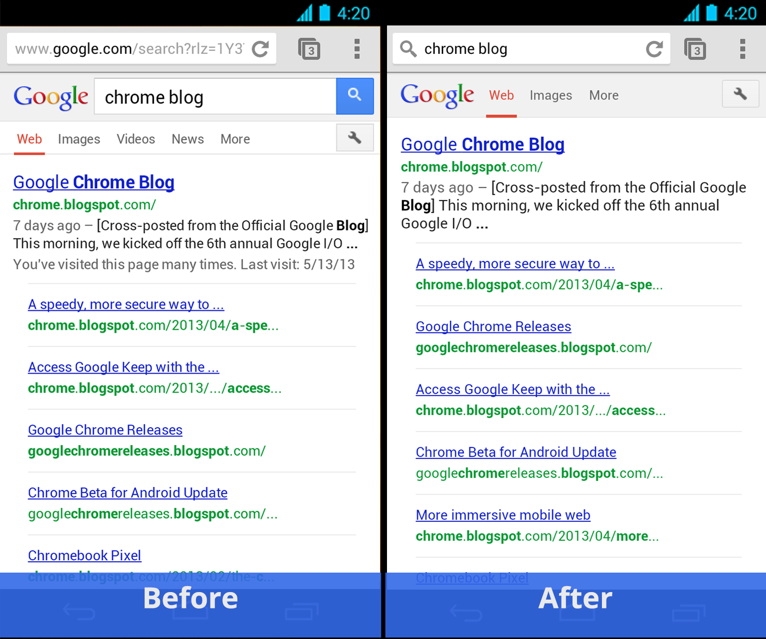 Chrome for Android - Simpler Search