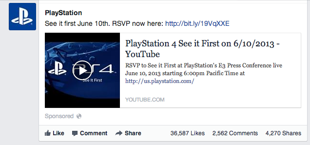 Facebook Playstation Ad