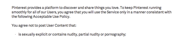 Pinterest nudity policy