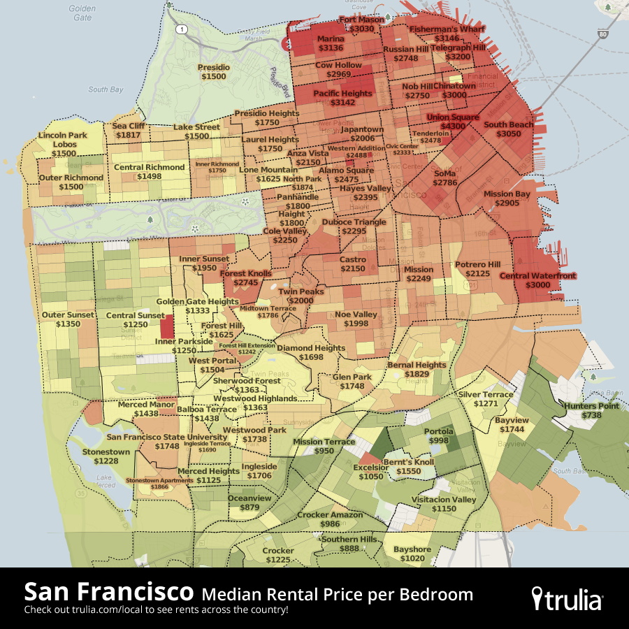 Trulia Adds New Maps To Visualize U.S. Rental Prices ... on san francisco rent chart, abu dhabi rent map, san francisco ca, heat map, austin rent map, san francisco rent rates, san francisco neighborhoods to avoid, portola ca map,