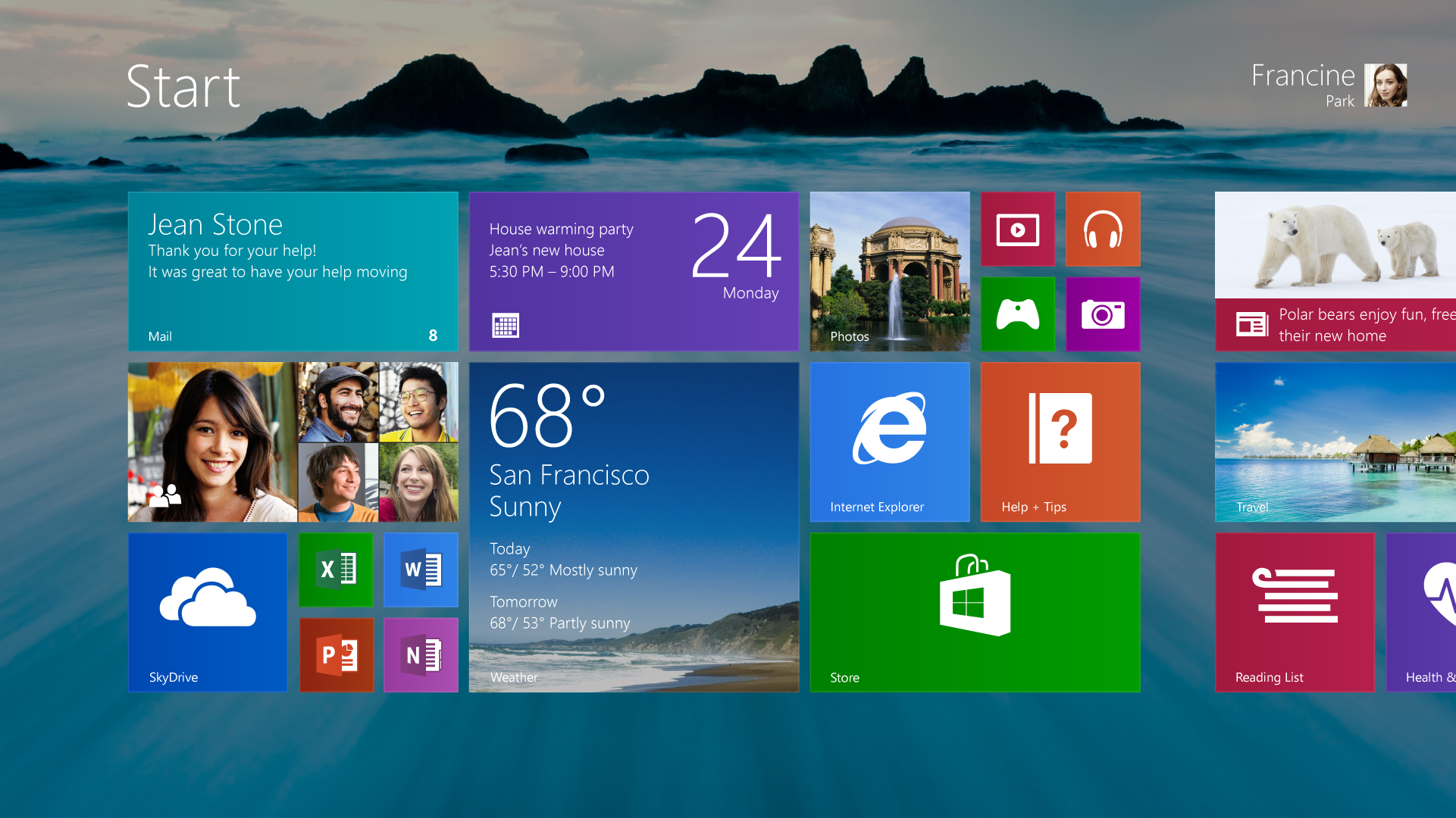 Windows 8.1 Pre-release Start screen with desktop background