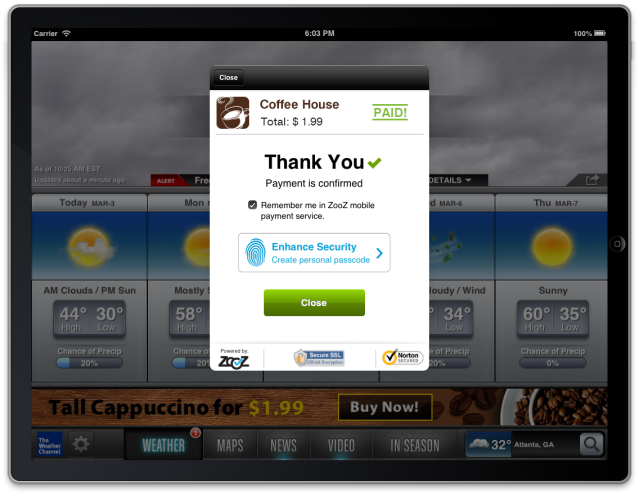 ZooZ In-Ad Payment Screens - coffee7