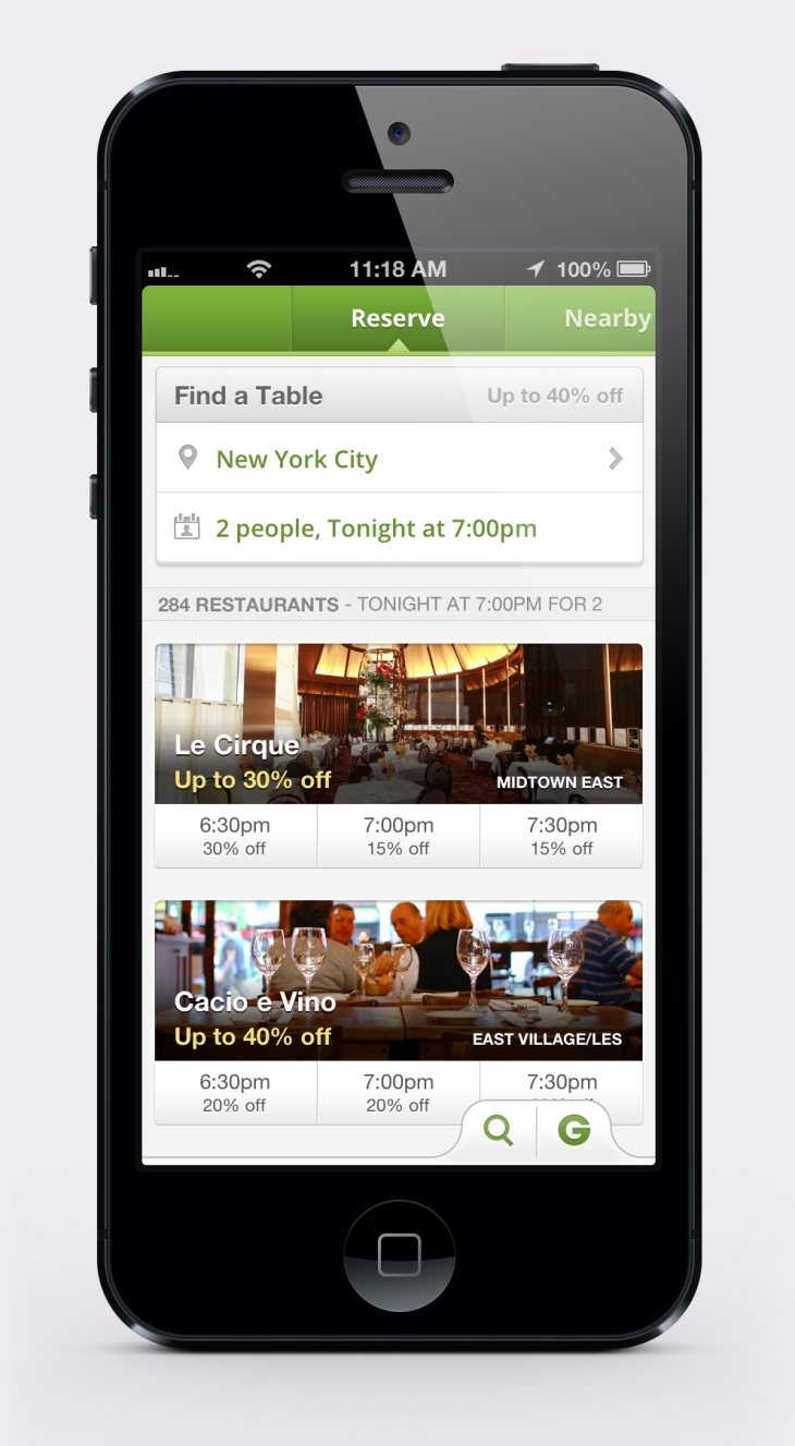 Groupon Goes Mobile With Its Reserve Restaurant Reservation And - Table reserve app