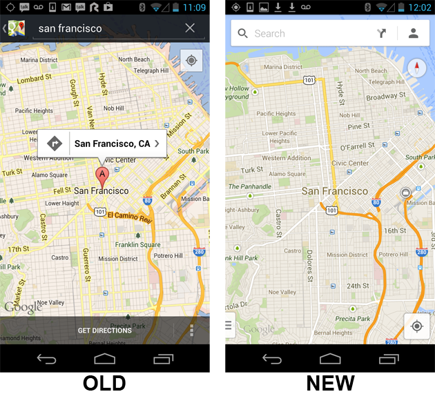 Google Maps For Android Gets A New UI, Drops Laude And Offline ... on online interactive maps, service maps, print maps, advertising maps, facebook maps,