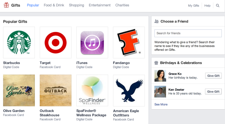 Facebook Ditches Physical Gifts To Double-Down On Digital Codes And