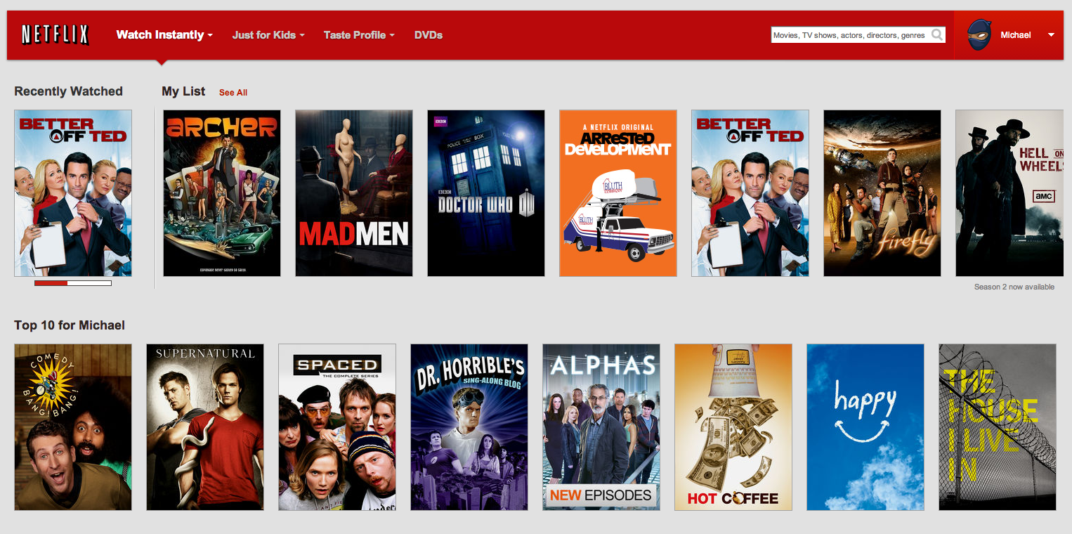 Netflix introduces my list a personalized instant queue - Home shows on netflix ...