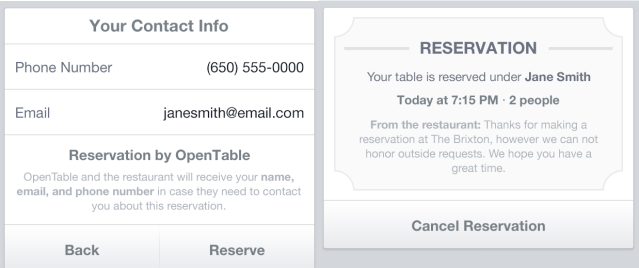 Phenomenal Facebook Makes Mobile Pages More Functional With Opentable Interior Design Ideas Clesiryabchikinfo