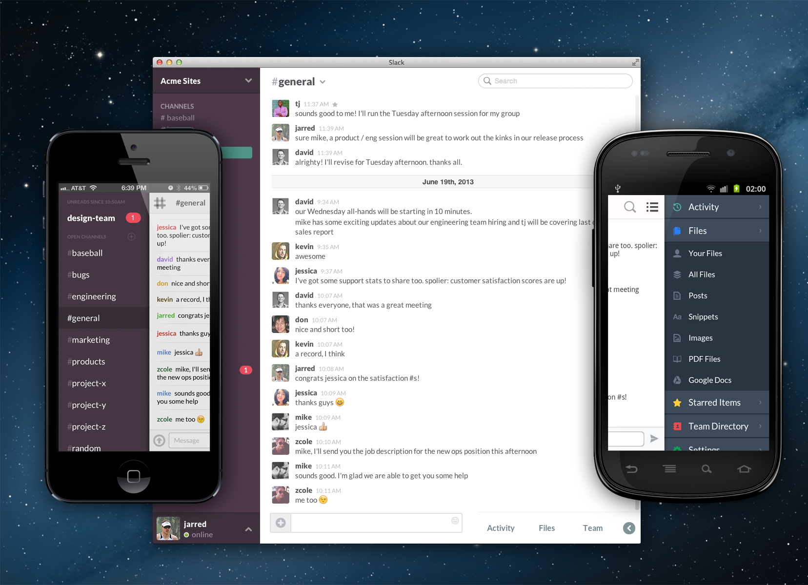 slack screen shots