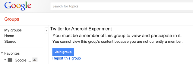 Twitter for Android Experiment - Google Groups