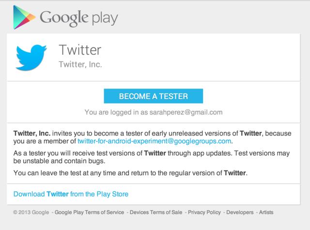 Twitter testing - Google Play