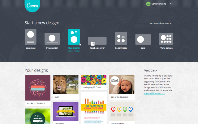 User Homepage Screenshot