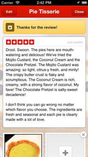 yelp review posted