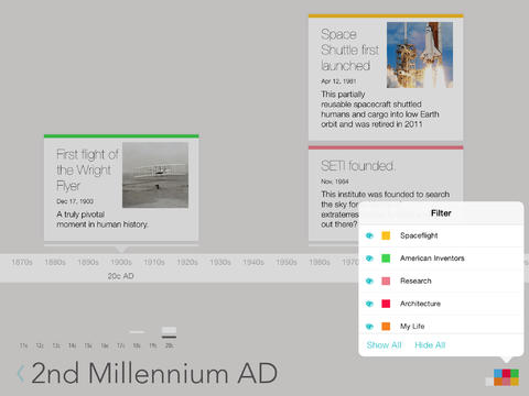 lineal timeline lets you visualize history or the future on your
