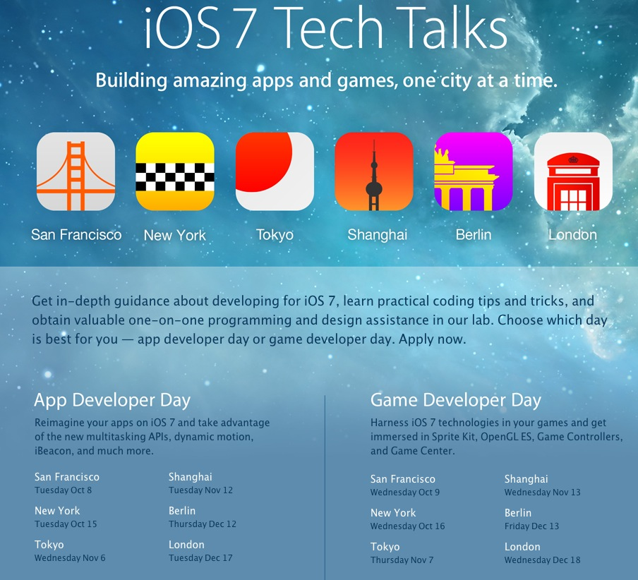 Apple Launches iOS 7 Tech Talks For Developers In SF, NYC