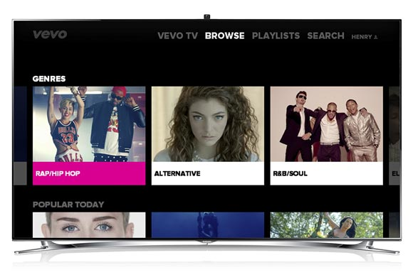 vevo launches music video app for samsung smart tvs blu ray players techcrunch. Black Bedroom Furniture Sets. Home Design Ideas