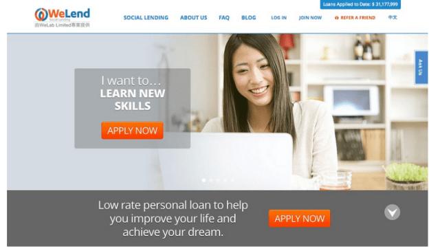 WeLend homepage