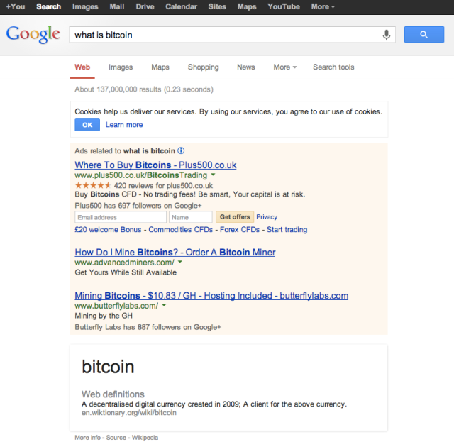 Google Bitcoin search results