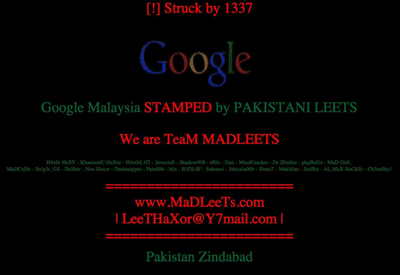 google malaysia site dns hacked credit claimed by team madleets