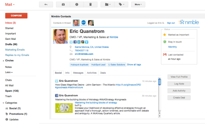 Social CRM Startup Nimble Launches Contact Widget For Gmail, Outlook & Hootsuite – TechCrunch